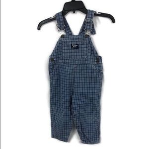 VTG OSHKOSH BLUE PLAID OVERALLS 4T